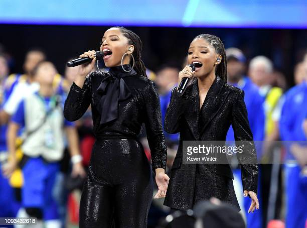 Halle Bailey and Chloe Bailey of Chloe X Halle perform during the Super Bowl LIII Pregame at MercedesBenz Stadium on February 3 2019 in Atlanta...