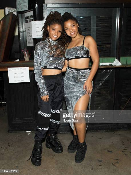Halle Bailey and Chloe Bailey of Chloe x Halle pose backstage at SOB's on May 31 2018 in New York City