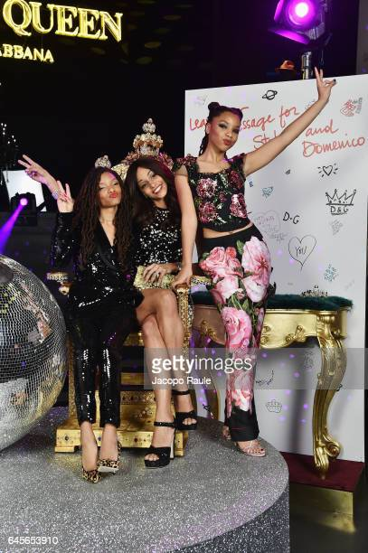 Halle Bailey Cindy Descalzi Pereira and Chloe Bailey attend the Dolce Gabbana 'Dancing Queen' After Show Party during Milan Fashion Week Fall/Winter...