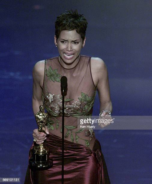 Halle Barry is the first African American actress to win the Best Actress award for Monster's Ball at the 74th Annual Academy Awards at the Kodak...
