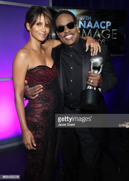Halle Berry and Charlie Wilson recipient of the Music Makes a Difference Honor attend the 49th NAACP Image Awards at Pasadena Civic Auditorium on...