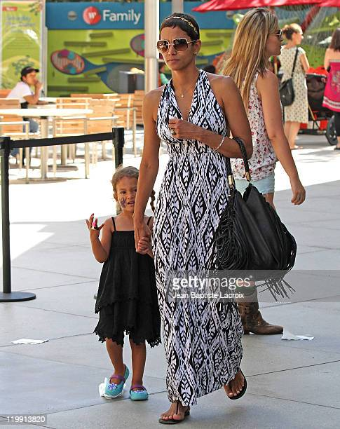 Halle Berry and daughter Nahla Aubry are seen in Century City on July 26 2011 in Los Angeles California