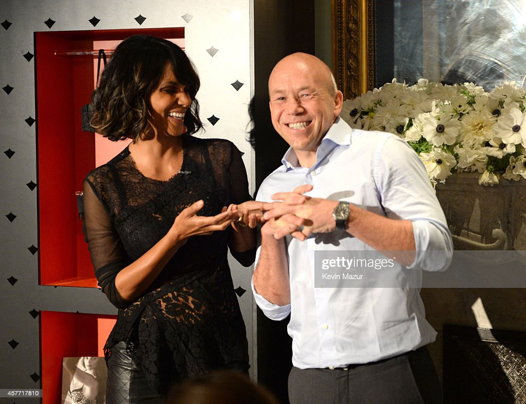 Halle Berry and Eric Ryd unveil 'Scandale Paris' at Laduree Soho on October 23, 2014 in New York City.