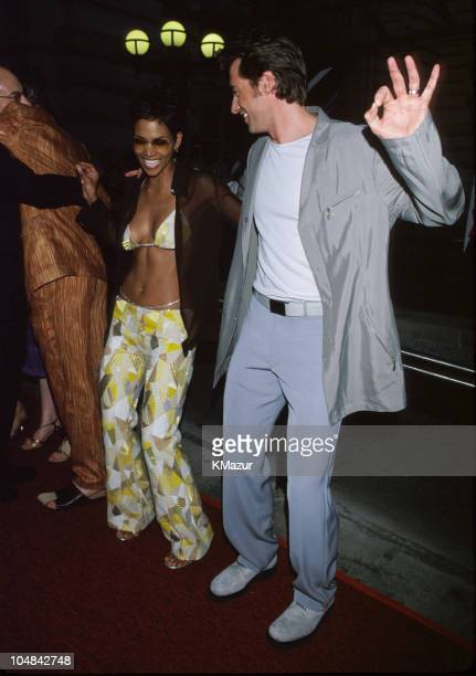 """Halle Berry and Hugh Jackman during """"X-Men"""" New York City Premiere at Ellis Island in New York City, New York, United States."""