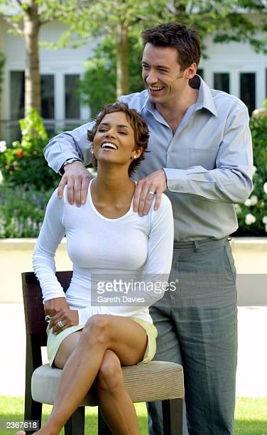 Halle Berry and Hugh Jackman sit for a photo to promote their new movie Swordfish at the Four Seasons Hotel Canary wharf London 25/6/01 Photo by...