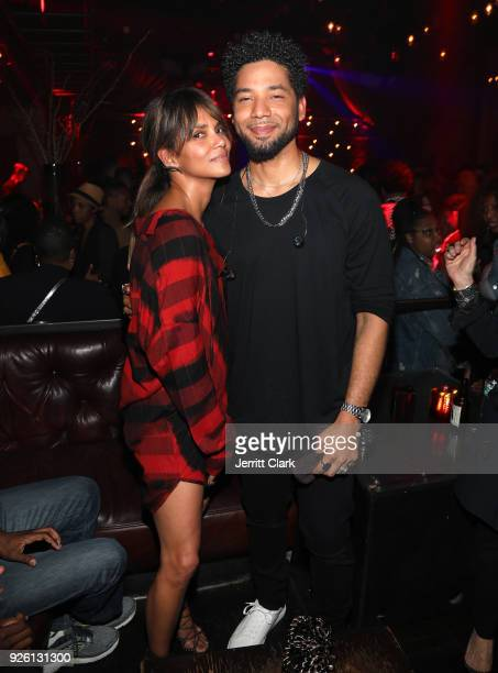 Halle Berry and Jussie Smollett attend Jussie Smollett's Release Party For His Debut Album 'Sum Of My Music' at The Sayers Club on March 1 2018 in...