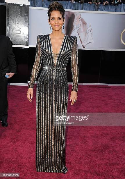 Halle Berry arrives at the 85th Annual Academy Awards at Dolby Theatre on February 24 2013 in Hollywood California