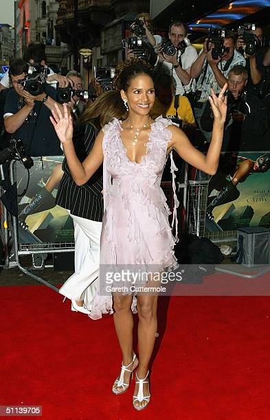 Halle Berry arrives at the European Premiere of Catwoman at Vue Leicester Square on August 3 2004 in London