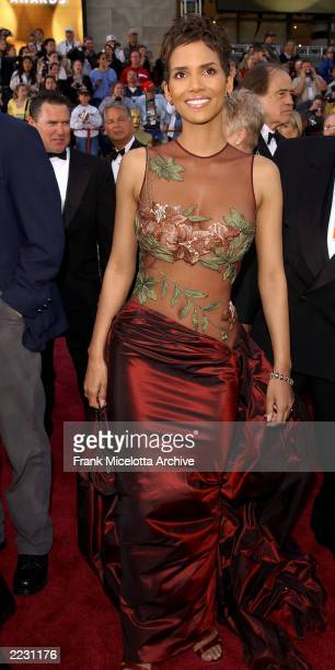 Halle Berry arrives for the 74th Annual Academy Awards held at the Kodak Theatre in Hollywood Ca March 24 2002