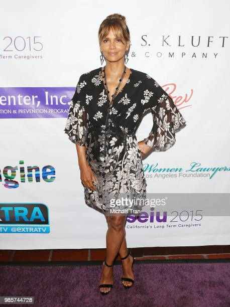 Halle Berry attends the 2018 Imagine cocktail party to benefit Jenesse Center held at Wilshire Country Club on June 27 2018 in Los Angeles California
