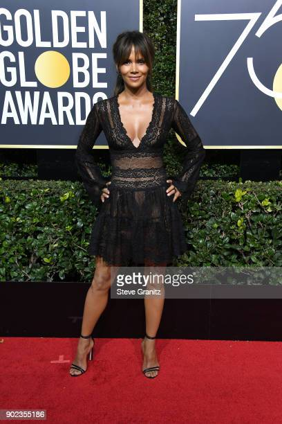 Halle Berry attends The 75th Annual Golden Globe Awards at The Beverly Hilton Hotel on January 7 2018 in Beverly Hills California
