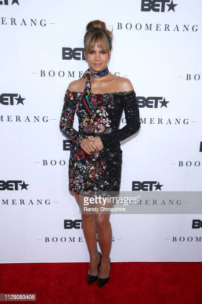 Halle Berry attends the BET Boomerang LA premiere at Wolf Theatre on February 11 2019 in North Hollywood California