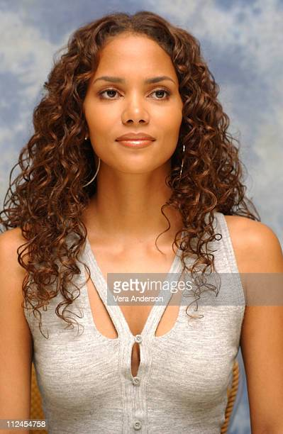 """Halle Berry during """"Catwoman"""" Press Conference with Halle Berry, Sharon Stone and Benjamin Bratt at Four Seasons Hotel in Beverly Hills, California,..."""