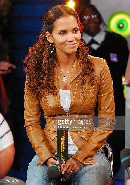 Halle Berry during Halle Berry and Hugh Jackman Visit MTV's TRL May 25 2006 at MTV Studios Times Square in New York City New York United States