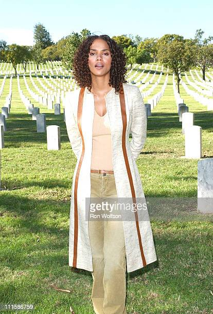 Halle Berry during Halle Berry on Location for the TV Documentary For the Love of Liberty March 9 2006 at Los Angeles National Cemetery in Westwood...