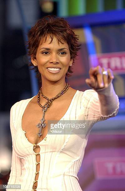 """Halle Berry during """"Spankin' New Music Week"""" with Justin Timberlake, Jennifer Lopez and Halle Berry on MTV's """"TRL"""" - November 5, 2002 at MTV Studios..."""