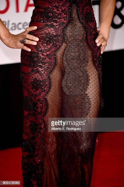 Halle Berry fashion detail attends the 49th NAACP Image Awards at Pasadena Civic Auditorium on January 15 2018 in Pasadena California