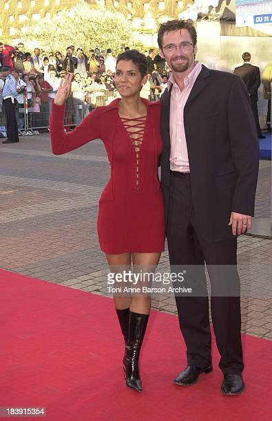 Halle Berry Hugh Jackman during Deauville 2001 The Swordfish Premiere at Centre International Deauville CID in Deauville France