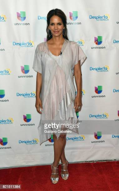 Halle Berry is seen on the set of 'Despierta America' to promote the movie KIDNAP at Univision Studios on July 24 2017 in Miami Florida