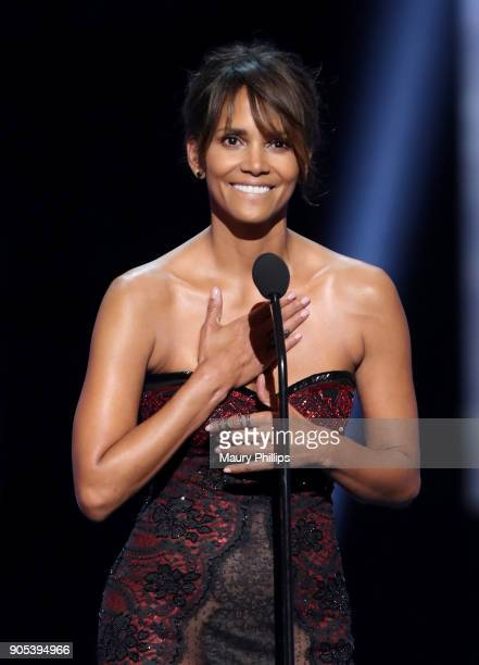 Halle Berry speaks onstage during the 49th NAACP Image Awards at Pasadena Civic Auditorium on January 15 2018 in Pasadena California