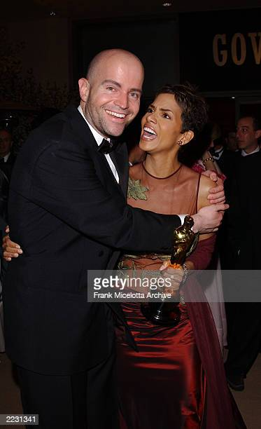 Halle Berry, winner of Best Actress with Monsters Ball Director Mark Foster at the Governors Ball following the 74th Annual Academy Awards at the...