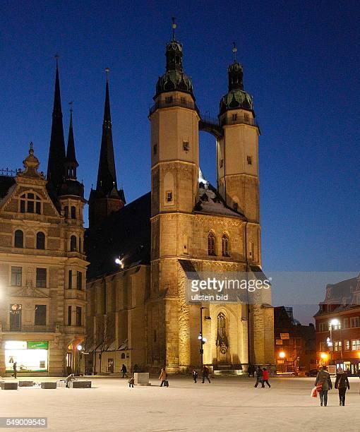 Halle / saale Markt Marktplatz Nachtaufnahme Marktkirche