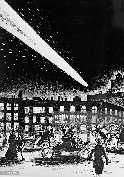 Halley's comet as seen in the city in 1910. Drawing by Fodestrum.