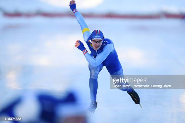 Hallgeir Engebraten competes during the Men 1500M sprint race Day two of Junior World Cup Speed Skating at the Oulunkylaen Liikuntapuistoon Arena on...