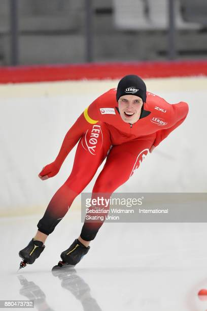 Hallgeir Engebraten of Norway performs during the Men 1500 Meter at the ISU ISU Junior World Cup Speed Skating at Max Aicher Arena on November 26...