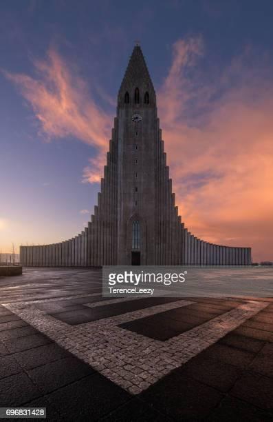 Hallgrimskirkja Church, Iceland at sunrise
