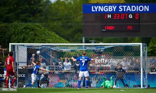 Hallgrimur Jonasson of Lyngby BK scores the 20 goal against Goalkeeper Stephan Andersen of FC Copenhagen during the Danish Alka Superliga match...