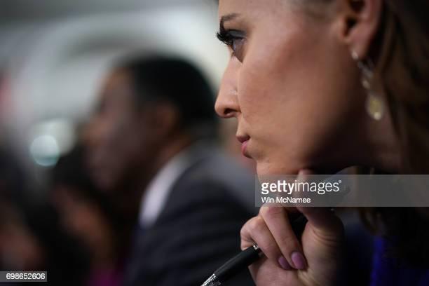 Hallie Jackson chief White House correspondent for NBC News listens as White House press secretary Sean Spicer responds to questions during a...