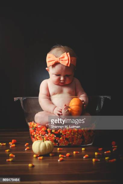 halloween baby - candy corn stock photos and pictures
