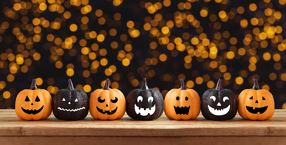 Halloween background with glitter pumpkin characters decor 1037604592