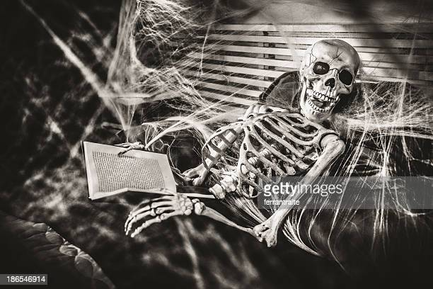 halloween bedtime stories - human skeleton stock photos and pictures