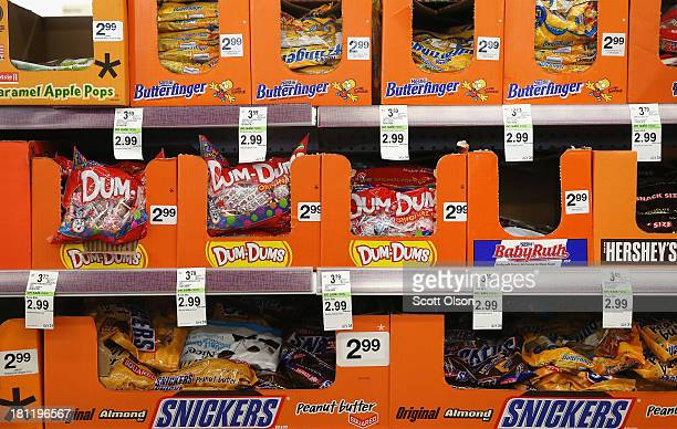 Halloween candy is offered for sale at a Walgreens store on September 19 2013 in Wheeling Illinois Walgreens the nation's largest drugstore chain has...