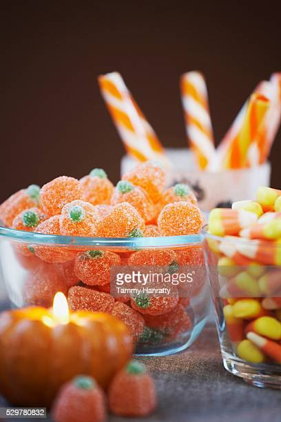 halloween candy - bowl of candy stock photos and pictures
