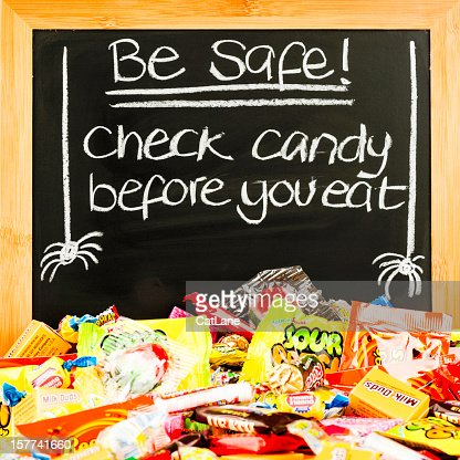 halloween candy safety message stock photo getty images