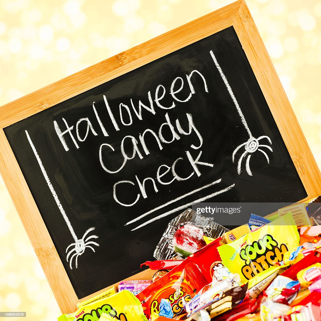 halloween candy safety message stock photo