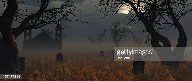 halloween church graveyard - cemetery stock pictures, royalty-free photos & images
