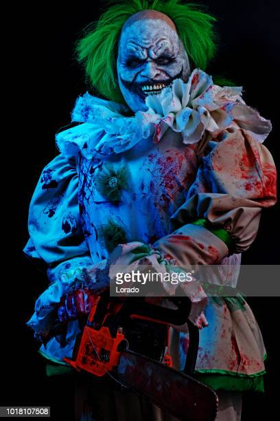 halloween clown - horror movie stock photos and pictures
