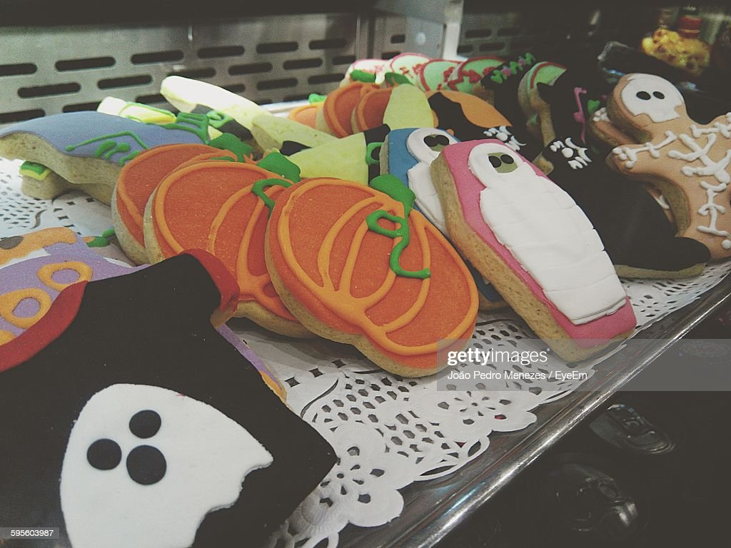halloween cookies for sale stock photo