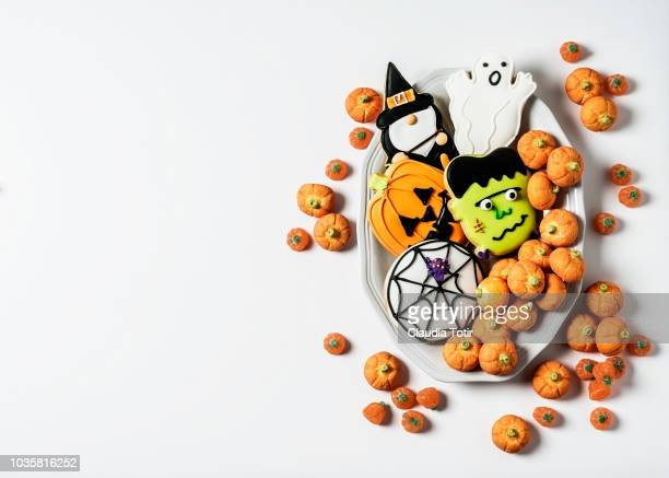 halloween cookies - halloween candy stock photos and pictures