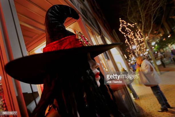 Halloween costume is seen on a mannequin in the main pedestrian mall in a town where back in 1692 witch trials took place October 27 2005 in Salem...