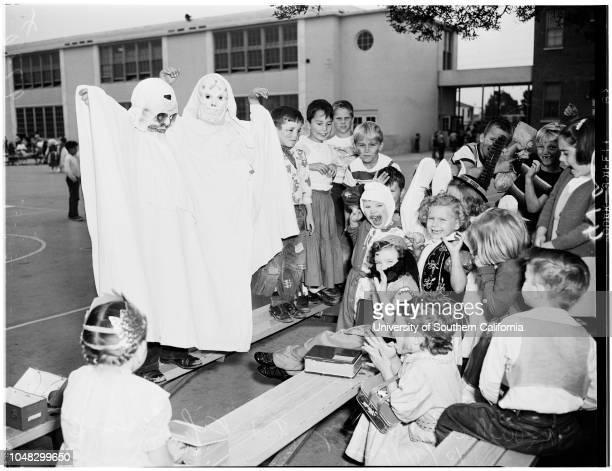 Halloween costumes at schools 31 October 1952 Stephen Gough 6 yearsJudy Halsey 6 yearsCarol Lee Richards 6 yearsSally Anderson 7 yearsRichard Mendoza...