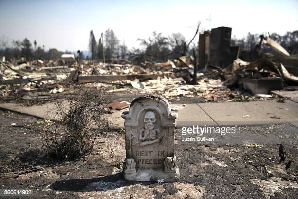 Halloween decoration is the only thing left standing in front of homes that were destroyed by the Tubbs Fire on October 12, 2017 in Santa Rosa,...