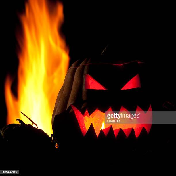halloween decoration - scary pumpkin faces stock photos and pictures