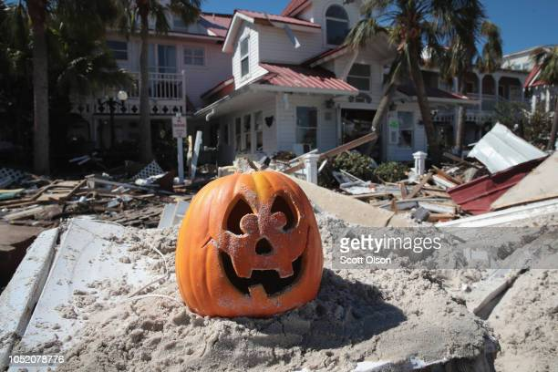 Halloween decoration sits in the sand following Hurricane Michael on October 13 2018 in Mexico Beach Florida Hurricane Michael slammed into the...
