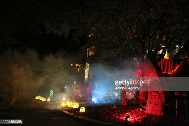 Halloween decorations are seen outside a house during Halloween celebrations in Vancouver, British Columbia, Canada on October 31, 2020.