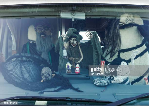 Halloween decorations hang from the interior of a camper van during Whitby Goth Weekend on October 27, 2019 in Whitby, England. The Whitby Goth...